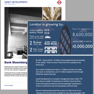 TfL: in-house marcomms team, strategy, management reporting